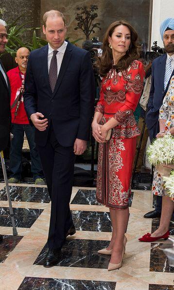 Catherine, Duchess of Cambridge and Prince William, Duke of Cambridge lay a wreath at Taj Hotel, scene of Mumbai terror attacks on April 10, 2016 in Mumbai, India.