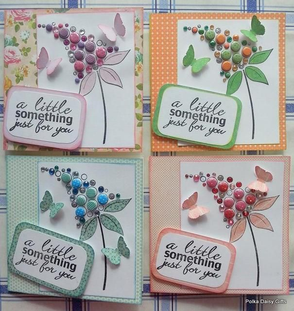 Pretty Cards using Card Candi and Bubble Bloom Stamps from Woodware.
