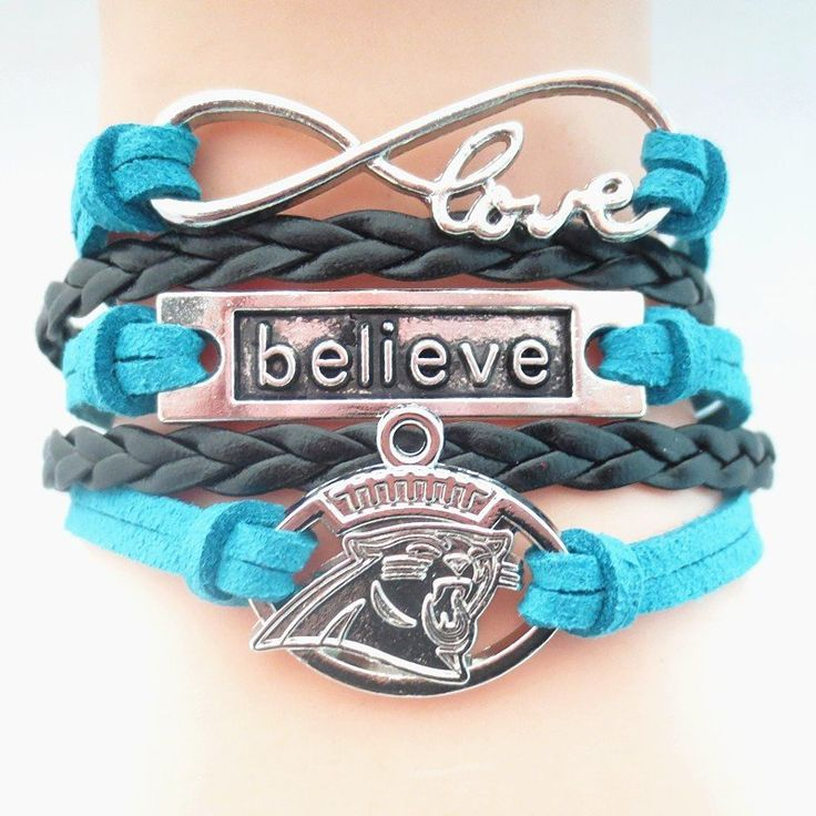 LOVE THE CAROLINA PANTHERS FOOTBALL TEAM? INCLUDES FREE SHIPPING ANYWHERE IN THE WORLD! Let the world know how much you love the Carolina Panthers with these very trendy super cute hand mad leather st