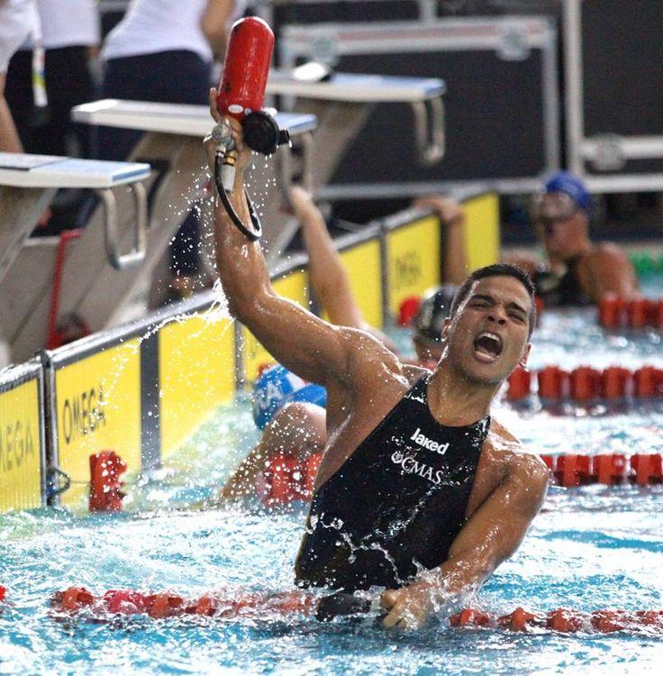 Mauricio Fernández Castillo, campeón mundial de Natación con Aletas en 100 metros inmersión, el 25 de junio en Volos, Grecia.