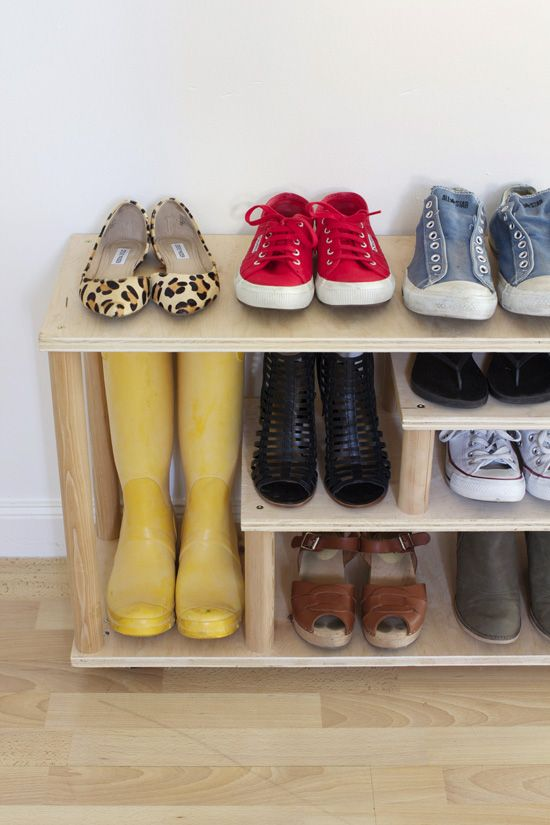 DIY plywood shoe rack