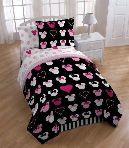 Disney Minnie Mouse Reversible TWIN Comforter Set w/Sham Bedding Girls Throw NEW
