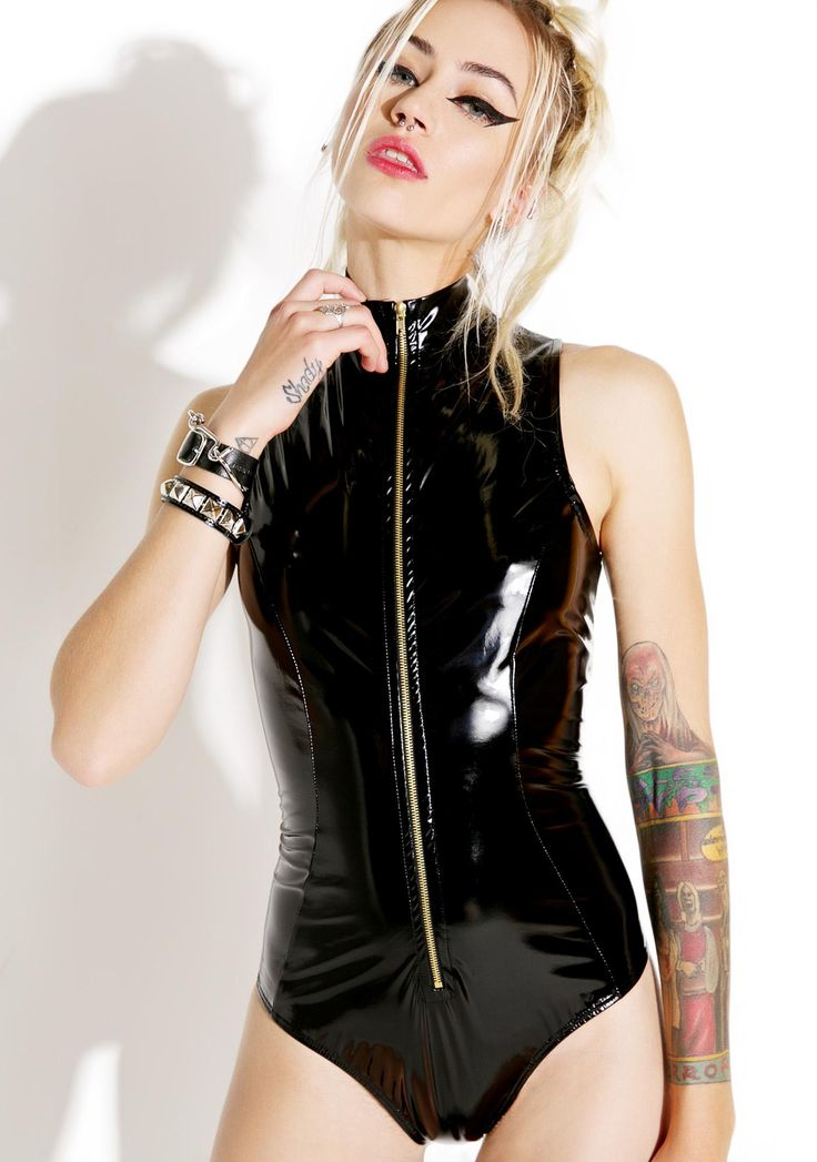 Treacherous Wetlook Bodysuit is gunna take ya down, babe. This hott sleeveless bodysuit features a slick black construction that hugs yer curves, high neckline, and full length exposed zipper.