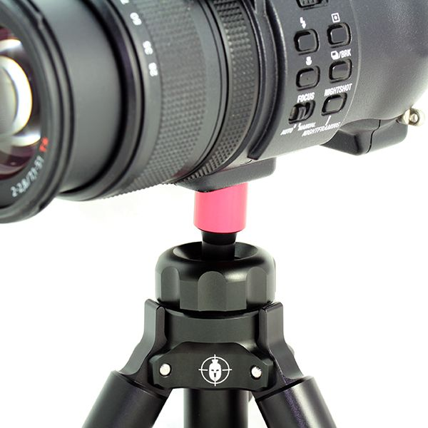 """The optics adapter enables you to use your Kapita tripod with anything that has a 1/4"""" thread. This includes your camera, spotting scope or binoculars. This tiny lightweight adapter makes your tripod an instant support for your optics. It's made from aerospace 7075 aluminium, hard anodised and is fitted with a 410 stainless steel flat headed bolt with the industry standard 1/4"""" thread. Like the rest of our products, it is hard anodised making it corrosion resistant and extremely hard…"""