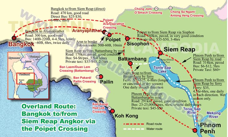 Map - Overland Travel: Bangkok - Siem Reap - Phnom Penh