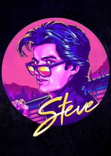 Netflix Stranger Things 2 The Babysitter Steve Harrington Fan Art Poster by zerobriant pink the 80's