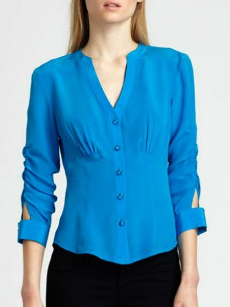 Concise V Neck Chiffon Pure Blouse - fashionmia.com