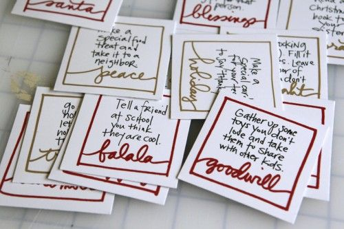 """Advent Action Cards. I like this idea so much better than the typical """"get a treat"""" type advent calendars. Service-oriented, not self-oriented."""