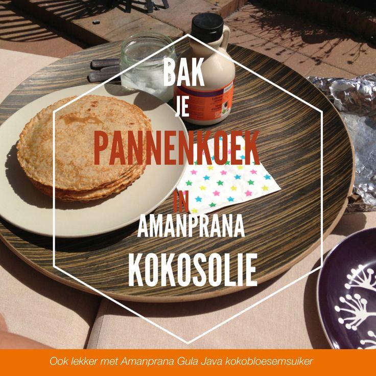 Maak je pannenkoeken met kokosolie in plaats van boter! Ahornsiroop is een heerlijk alternatief voor stroop. Variatietip: gula java kokosbloesemsuiker van Amanprana.