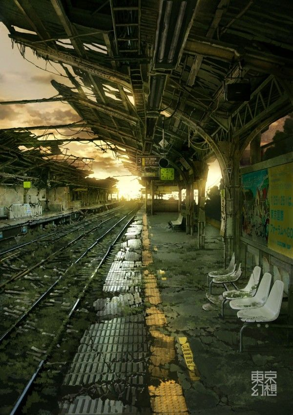 A deserted train station, overgrown, forgotten, abandoned, and a place where only ghosts roam. Conceptual Art. Surreal. The metro, railway, apocalypse style. Dystopia.