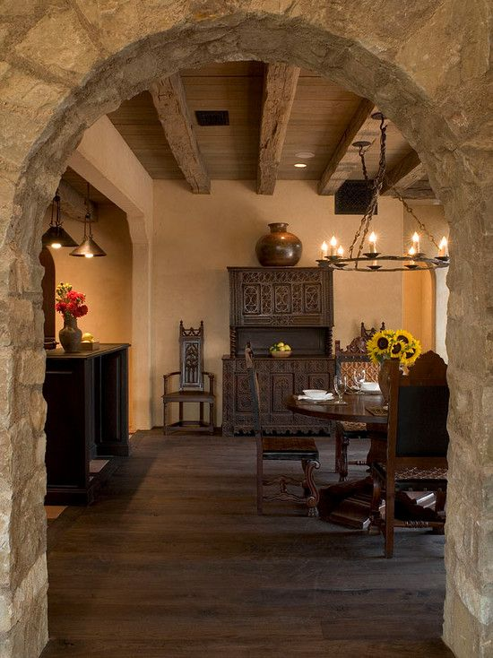 Wonderful And Beautiful Tuscan Style Flooring Enchanting Mediterranean Dining Room Stone Arched Doorway Wood Beamed