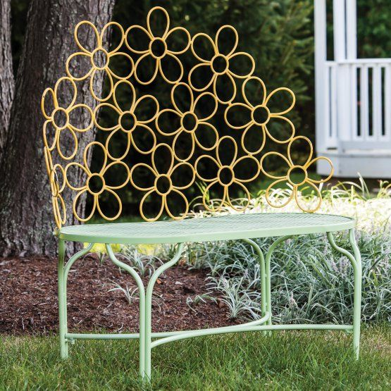 Cape Craftsman Floral Sunshine 40 in. Metal Outdoor Bench