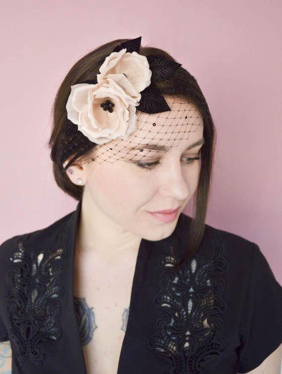 Black Birdcage Veil  Pink Fascinator  Fascinator Headband