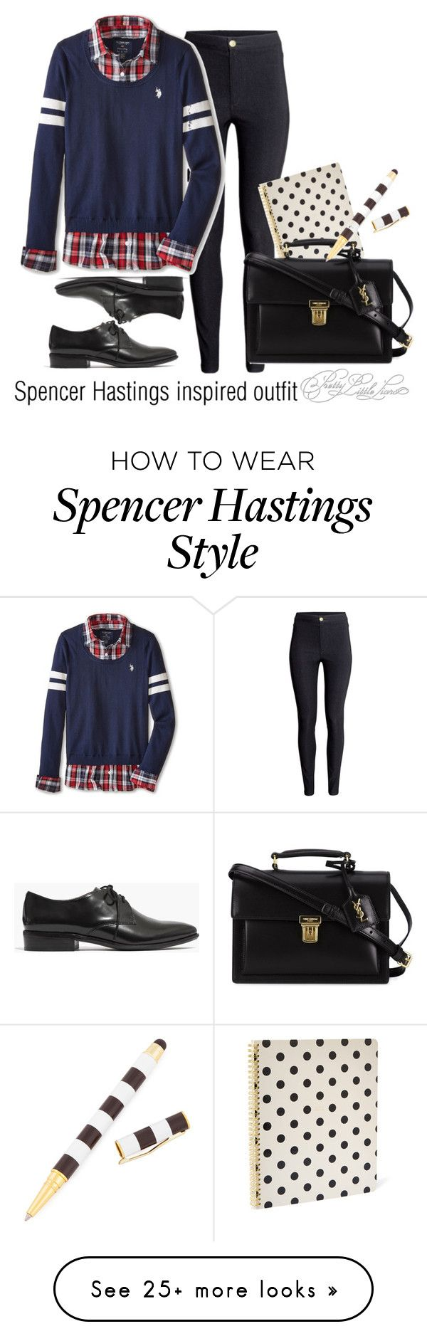 """Spencer Hastings inspired outfit/PLL"" by tvdsarahmichele on Polyvore featuring H&M, U.S. Polo Assn., Madewell, Kate Spade, Yves Saint Laurent and Henri Bendel"