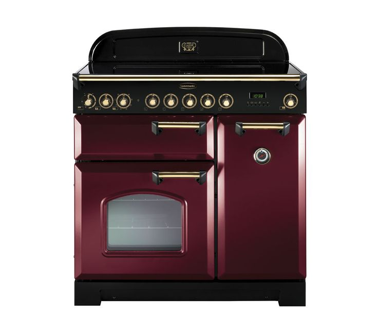 RANGEMASTER Classic Deluxe 90 Electric Ceramic Range Cooker - Cranberry & Brass, Cranberry: Packed with features and a stylish look, the…