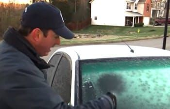 Weatherman Sprays DIY Solution Onto Windshield And The Icy Frost Is Gone In An Instant