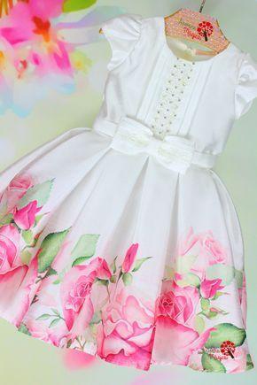 Vestido de Festa Infantil Petit Cherie Branco Barra Rosas Pink