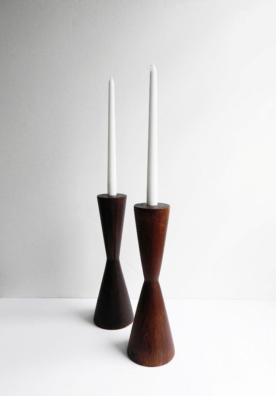 Vintage Large Wood Candlestick Holders Mid Century by UpHome