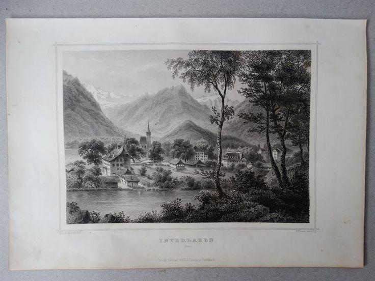 Interlaken Bern Schweiz Ansicht Landschaft - Fesca Rohbock - Stahlstich - 1861