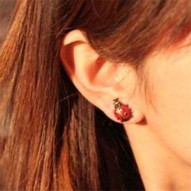 HOT Brand 1Pair Newly Fashion Cute Style Girls Lady Red Ladybug Alloy Stud Earring Jewelry