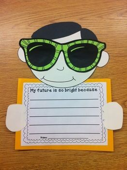Our Future Is So Bright...Adorable idea for an end of the year OR beginning of the year bulletin board.$    1. All templates to make these adorable kids: head, hair, hands and sunglasses with pictures  2. Five different writing prompt pages  3. Bulletin board letters to display projects: Our Future Is So Bright!  I hope you love this activity!  Download the preview for more details!