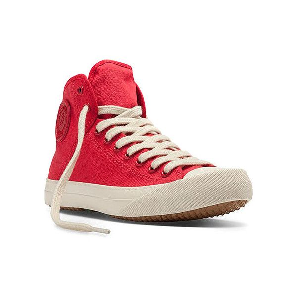 PF Flyers Sumfun Hi ($65) ❤ liked on Polyvore featuring shoes, sneakers, athletic-inspired, red, women's, wedge sneakers, hi top wedge sneakers, red high top shoes, wedges shoes and wedge trainers