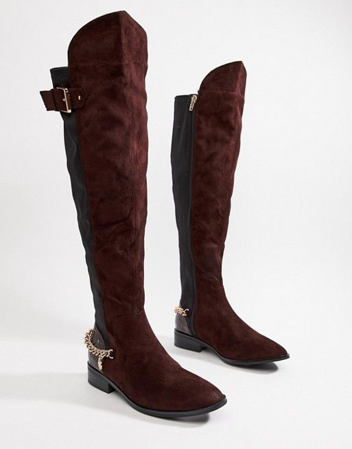 c16aab3846 River Island over the knee flat boots with chain detail in chocolate brown