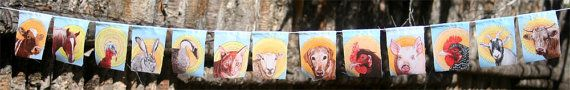 Animal Prayer 13 small prayer flags  cow by MirandaGrayStudio, $21.00