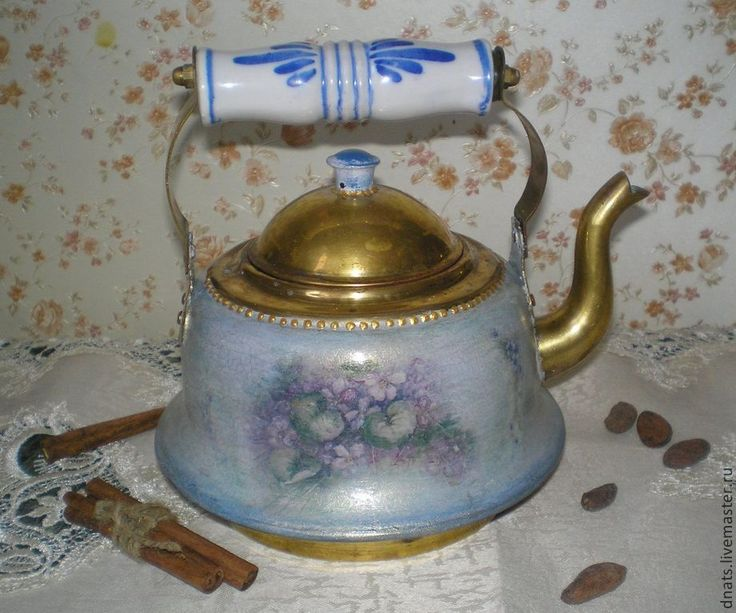 """Старинный чайник """"Цветочный"""" - латунь,металл,чайничек,чайник,коллекция"""