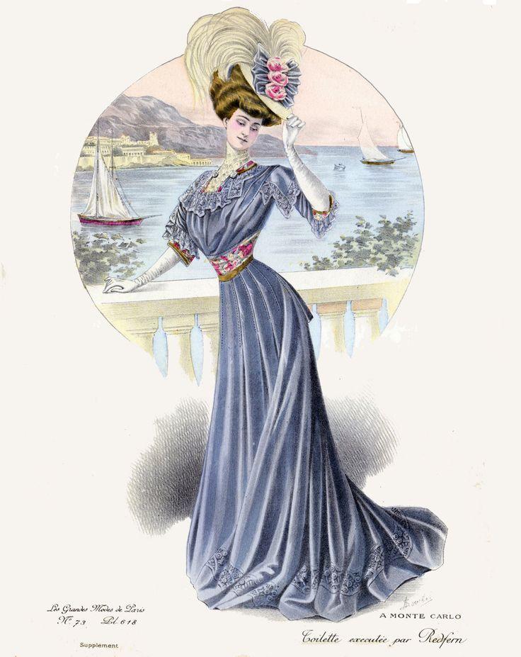 Картинки, старинные открытки мода