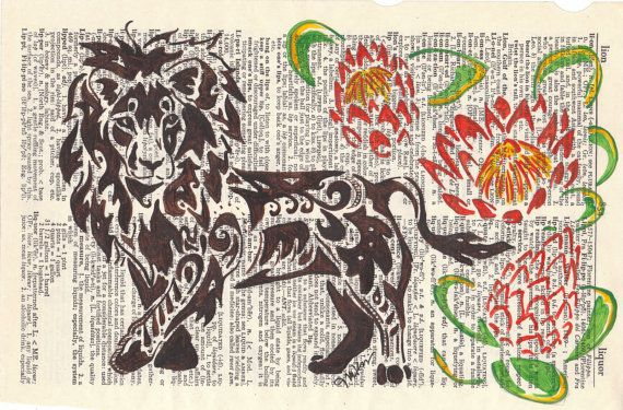 Art Painting 'Kings of Africa' (Lion and Protea flowers on upcycled dictionary page done in intricate henna like style) on Etsy, $84.83 CAD
