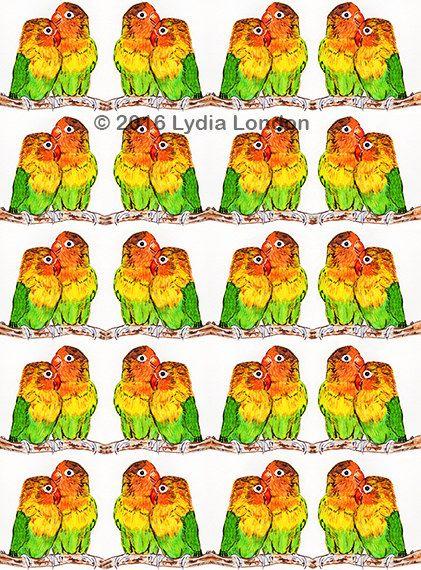 Lovebirds Repeat Pattern Letter Size by LydiaLondonArtCanada