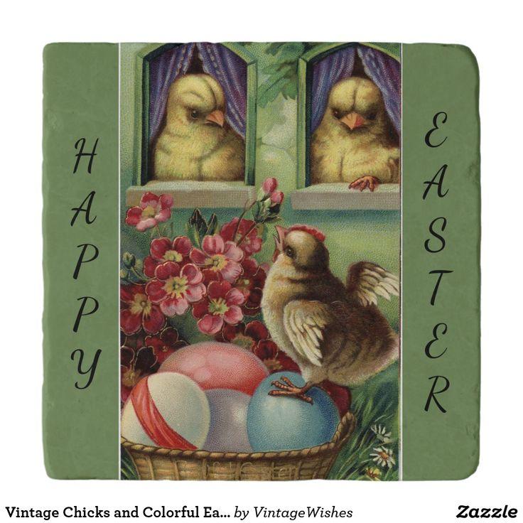 Vintage Chicks and Colorful Easter Eggs Trivet