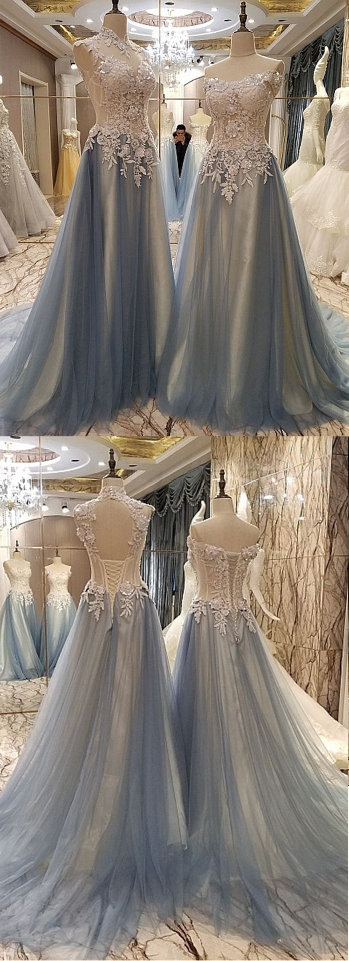 Beautiful lace top gray tulle long prom dress