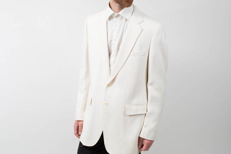 Mens Sports Jacket Blazer / Vintage Large Moygashel White Jacket by PrincipalVintage on Etsy