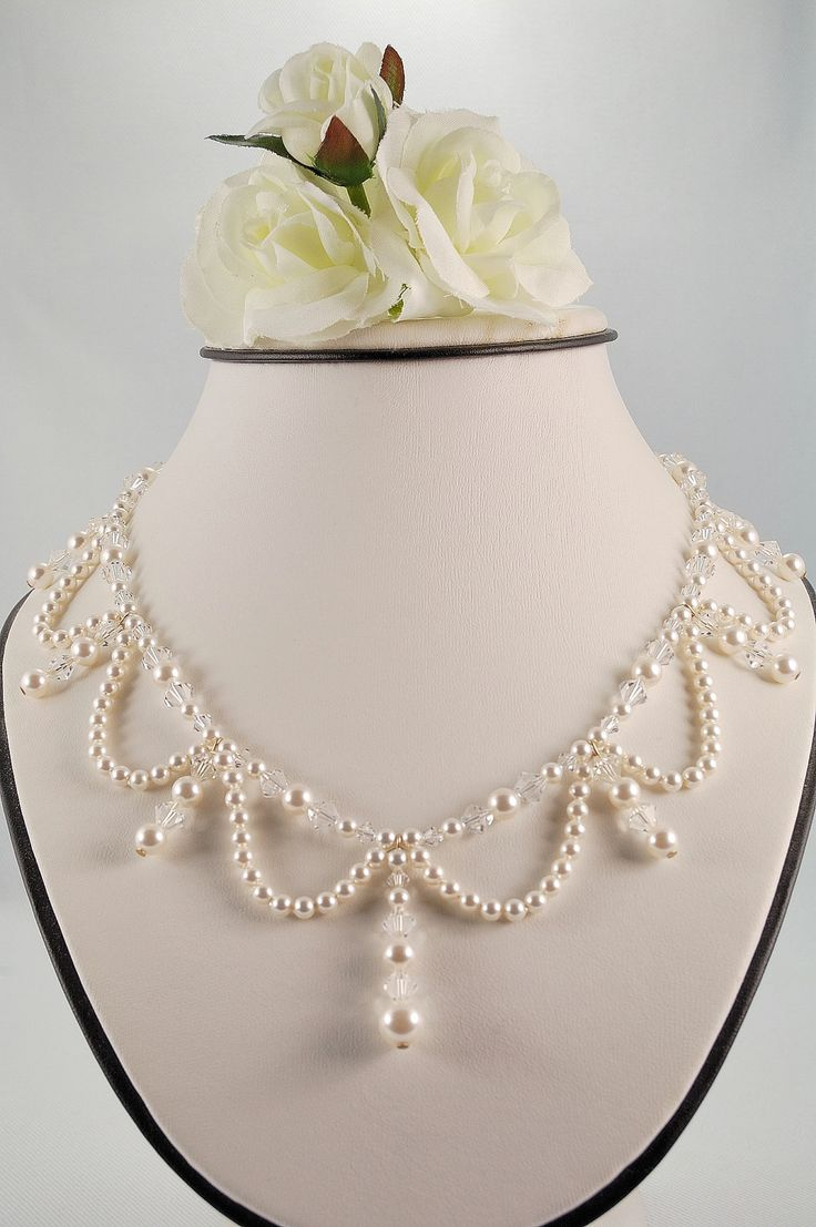 White Pearl and Crystal Ballroom Necklace. $60.00, via Etsy.
