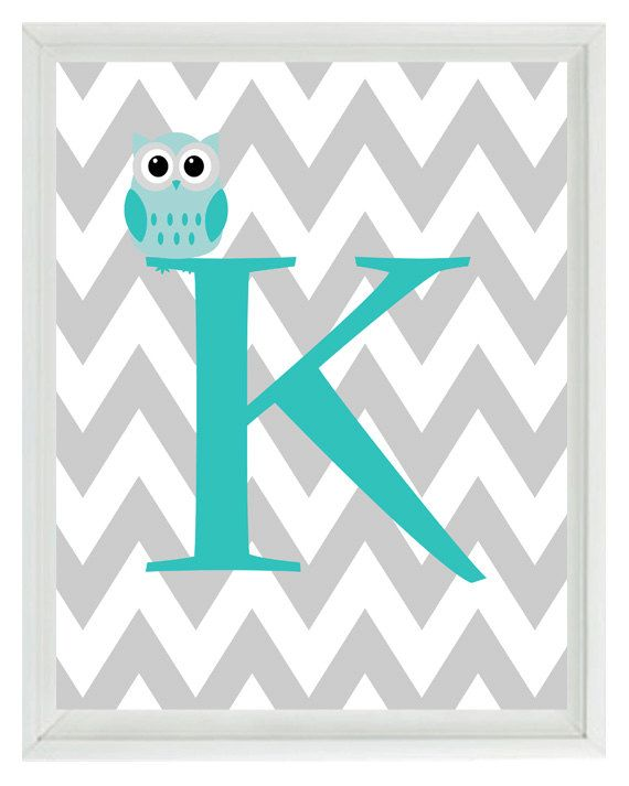 Chevron Initial Letter Art Print - Owl Nursery Aqua Gray Personalized  - Wall Art Home Decor 8x10 Print. $15.00, via Etsy.