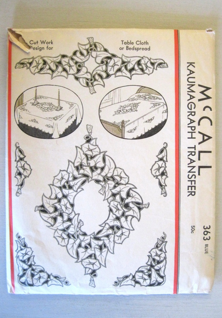 McCall 363 1935 Kaumagraph Transfer Floral Cutwork Patterns for Bedspread or Table Linens Morning Glory Vine.