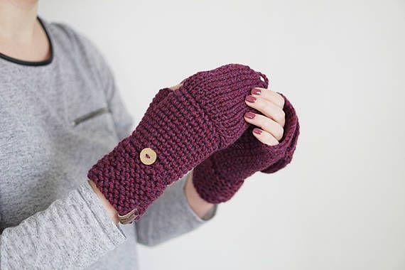 Guantes de lana gruesa de color púrpura Crochet mitones