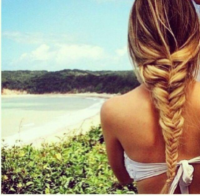 Blond fishtail braid.