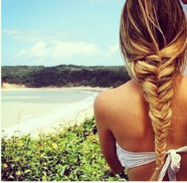 Blond fishtail braid.