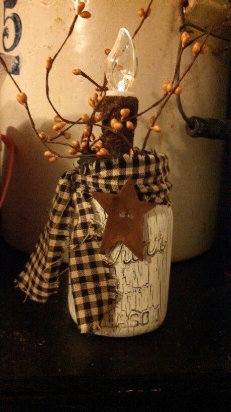 Primitive Painted Mason Jars | Crackle paint mason jar (1/15/14agc)