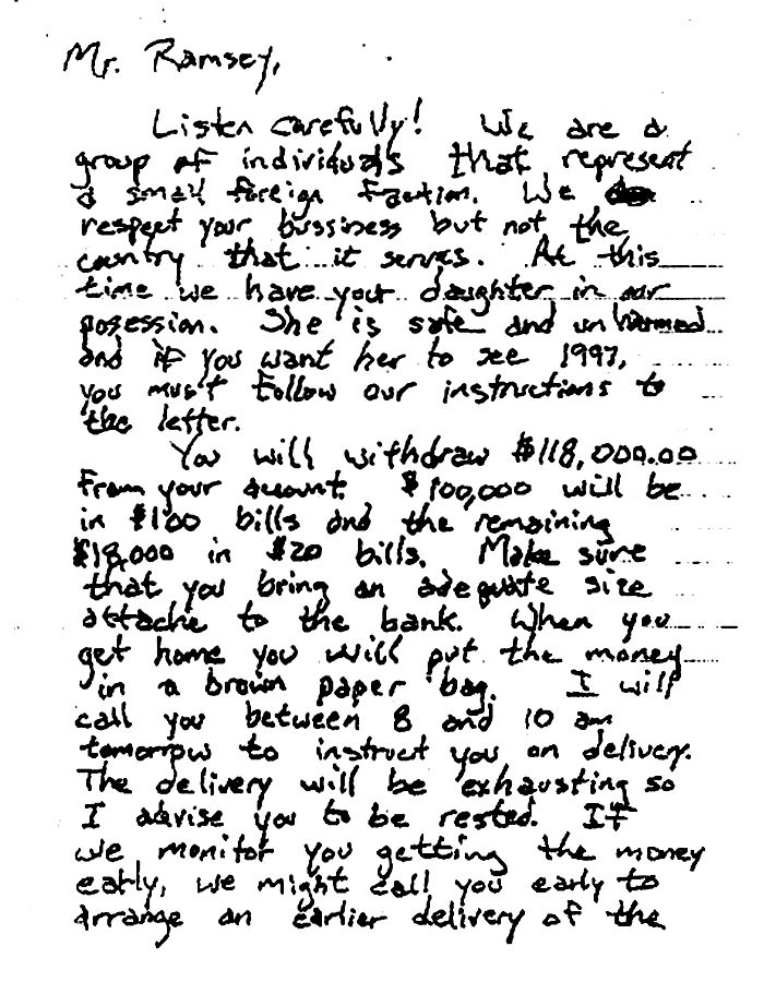 Jon Benet Ramsey - Ransom Note  - you can view the entire note by clicking on pic and going to website - how can anyone believe this was not written by someone in the house?