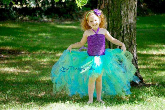 Ariel Mermaid Tutu Dress---up to pre-teen sizes--Free flower clip included