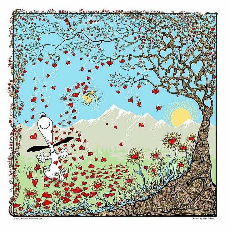 Heart tree with Snoopy and Woodstock.