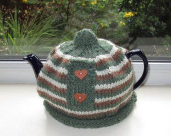 Hand knitted, Aran Striped Wooden Heart Novelty Tea Cosy/Tea Cozy To Fit 4-6 Cup Tea Pot Approx 2 Pint Size. Ready To Ship/Post