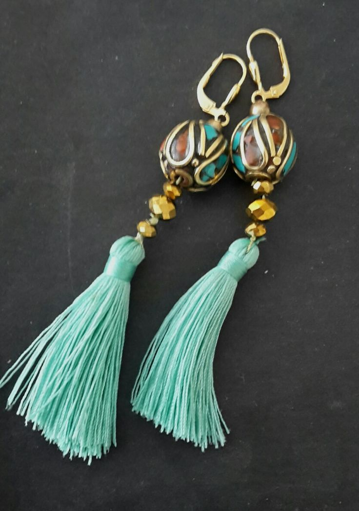 Boho gold plated and Nepalese beads earrings