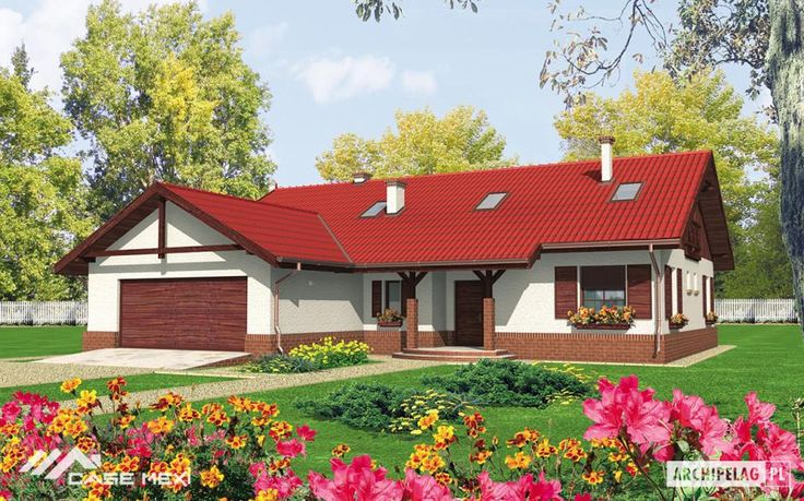 The one-storey house, without basement with built in garage, intended for 4-5-person family. The ground floor is functional daily zone with kitchen, living room with fireplace and toilet. In the night zone are 2 bedrooms and big bathroom.