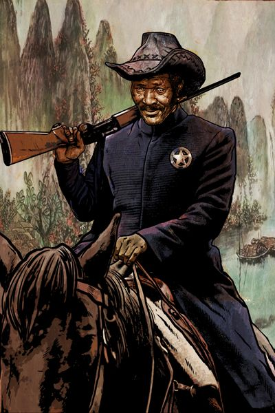 A grizzled Ranger wears his forbidden star.   Far West art from Rick HersheyRick Hershey