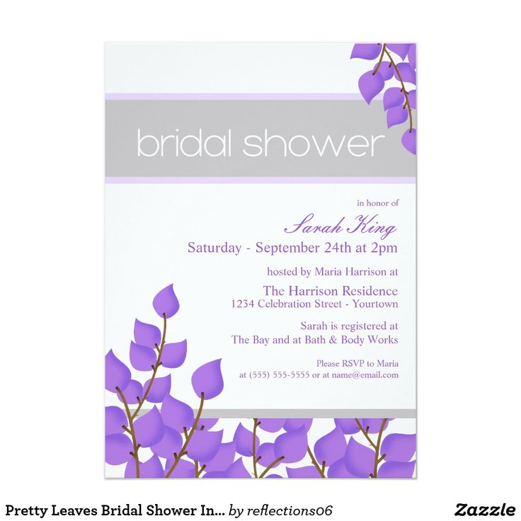 Pretty Leaves Bridal Shower Invitations